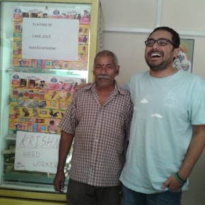 Met krishna at a juice shop in Hyderabad. If you can see the note on refrigerator, he is employee of the month. :)