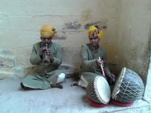 Performers inside Mehranghar Fort.
